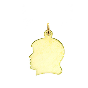 "14k gold engravable 5/8"" girl silhouette head disc charm"