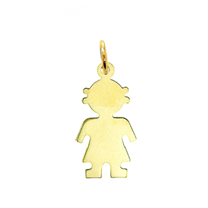 "14k gold engravable 7/8"" girl silhouette disc pendant"