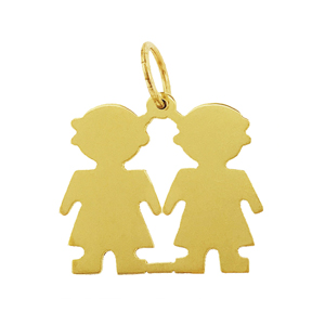 "14k gold engravable 3/4"" twin girls silhouette pendant"