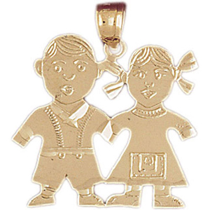 14k gold 24mm twin boy and girl charm pendant