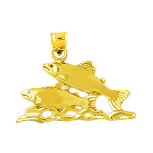 14k gold two salmons charm pendant