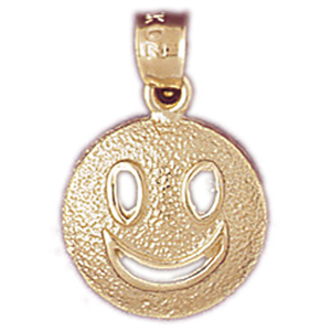14k gold happy face charm