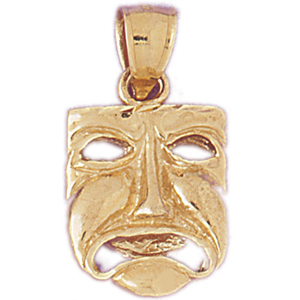 14k gold 3d tragedy drama mask charm