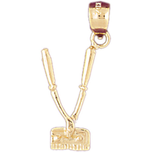 14k gold 3d barbers clippers charm
