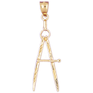 14k gold drawing compass pendant