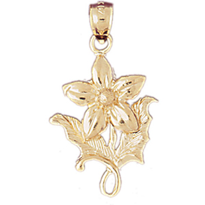 14k gold flower with leaves pendant