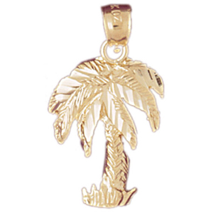 14k gold tropical palm tree charm