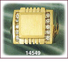 14Kt Gold Square CZ Signet Ring