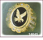 14Kt Gold Eagle Onyx Ring
