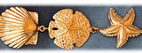 14k gold shell starfish & sand dollar bracelet