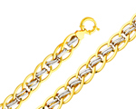 14k two tone gold fancy light hollow link bracelet
