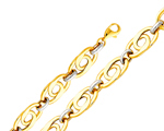 14k two tone gold light hollow link bracelet