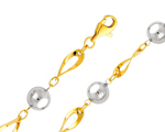14k two tone gold fancy light ball link womens bracelet