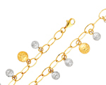 14k two tone gold cable link with dangling balls bracelet
