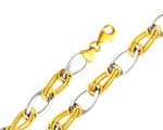 14k two tone gold fancy link womens hollow bracelet