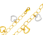 14k two tone gold fancy cable link heart charm bracelet