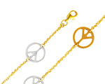 14k tri color gold peace sign chain link fancy bracelet