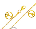 14k two tone gold peace sign charm fancy cable link bracelet