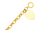 14k gold hollow link with heart tag toggle bracelet