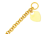 14k gold heart tag toggle hollow rolo link bracelet