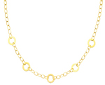14k gold designer circle links womens necklace