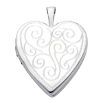 14k white gold decorative scroll heart locket