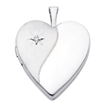 14kt white gold diamond accent heart locket