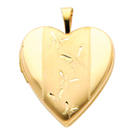 14k gold engraved butterflies heart locket