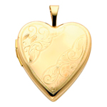 14k gold floral scrolls heart locket