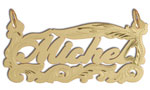 14k gold personalized scroll frame script nameplate