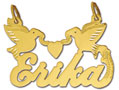 14k gold personalized designer script love birds nameplate
