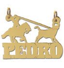 14k gold designer rodeo roping personalized block nameplate