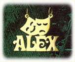 14k gold personalized drama tragedy nameplate