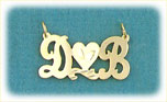 14k gold two initials script nameplate
