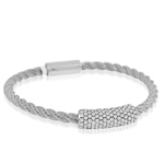 sterling silver rhodium plated and micro-pave cz twisted cable bangle
