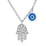 sterling silver cz chamsah w/enamel evil eye necklace