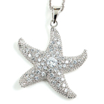 sterling silver rhodium plated cz starfish necklace