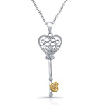 two tone sterling silver cz key & heart necklace