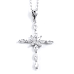 sterling silver rhodium plated cross necklace w/cz