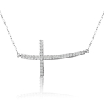 sterling silver rhodium plated sideway curved cross necklace