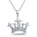 sterling silver rhodium cz accent crown & fleur de lis necklace