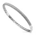 sterling silver rhodium plated and pave cz bangle with safety clasp