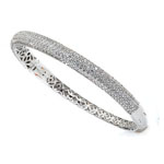 silver rhodium plated and micro-pave cz bangle with safety clasp