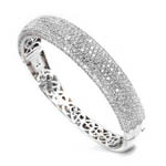 sterling silver rhodium plated and micro-pave cz bangle safety clasp