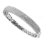 sterling silver rhodium plated & micro-pave cz bangle