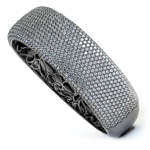 silver black rhodium plated and micro pave cz bangle