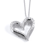 sterling silver rhodium plated heart necklace with cz accents