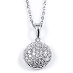 sterling silver rhodium plated round disc necklace w/pave cz accents