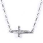 sterling silver rhodium plated cz sideways cross necklace