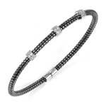 silver black rhodium plated and 3 stations of cz bangle